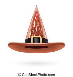 Witch hat - Brown witch hat with golden buckle, hatband and...