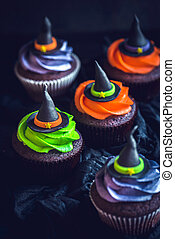 Witch hat cupcakes,helloween concept