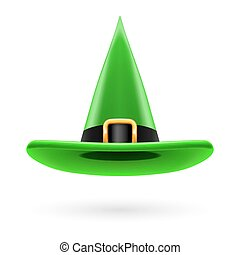 Witch hat - Green witch hat with golden buckle and hatband
