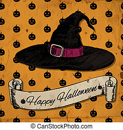 Witch hat. Halloween card with hand - drawn witch hat and...