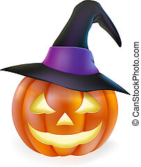 An illustration of a cute cartoon carved Halloween pumpkin lantern with happy smile and pointed witch hat