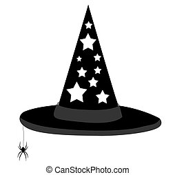 witch hat - illustration of a witch\\\'s hat with dangling...