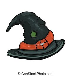 Witch hat isolated on white background.