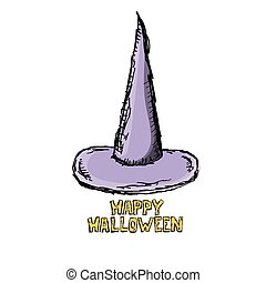 witch hat isolated on white.