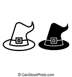 Witch hat line and glyph icon. Wizard hat vector illustration isolated on white. Costume outline style design, designed for web and app. Eps 10.
