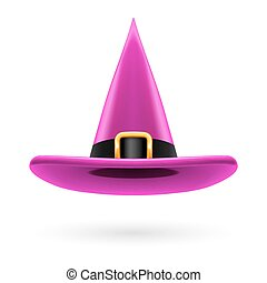 Witch hat - Magenta witch hat with golden buckle and hatband