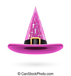Witch hat - Magenta witch hat with golden buckle, hatband...