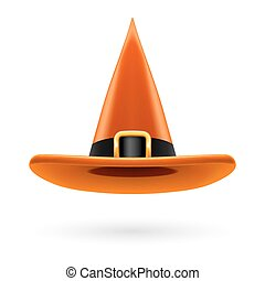 Witch hat - Orange witch hat with golden buckle and hatband