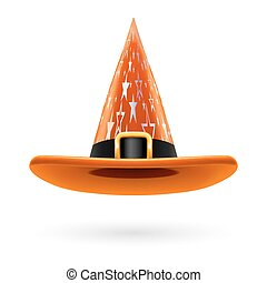 Witch hat - Orange witch hat with golden buckle, hatband and...