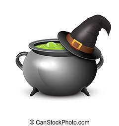 Witch hat, pot of boiling potion on white background