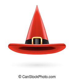 Witch hat - Red witch hat with golden buckle and hatband