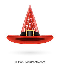 Witch hat - Red witch hat with golden buckle, hatband and...