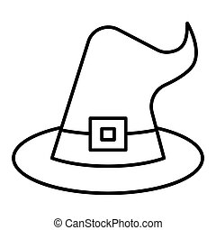 Witch hat thin line icon. Wizard hat vector illustration isolated on white. Costume outline style design, designed for web and app. Eps 10.