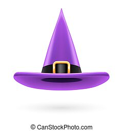 Witch hat - Violet witch hat with golden buckle and hatband