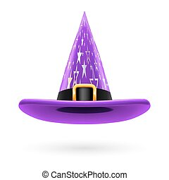 Witch hat - Violet witch hat with golden buckle, hatband and...