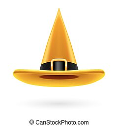 Witch hat - Yellow witch hat with golden buckle and hatband