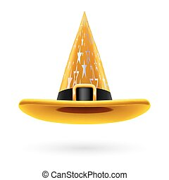 Witch hat - Yellow witch hat with golden buckle, hatband and...