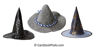 Witch hats isolated on white background