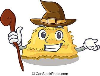 Witch hay bale mascot cartoon vector illustration