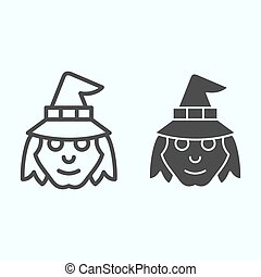 Witch head in hat line and solid icon. Woman with evil face silhouette. Halloween vector design concept, outline style pictogram on white background, use for web and app. Eps 10.