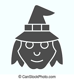 Witch head in hat solid icon. Woman with evil face silhouette. Halloween vector design concept, glyph style pictogram on white background, use for web and app. Eps 10.