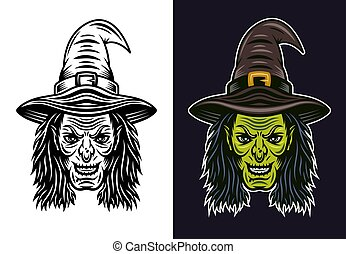 Witch head vector in two styles black and colored
