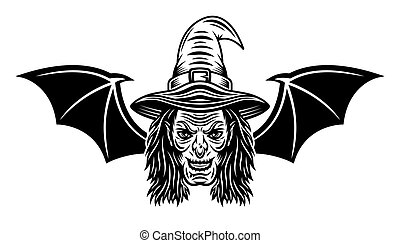 Witch head with bat wings vector illustration