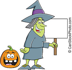 Witch holding a sign