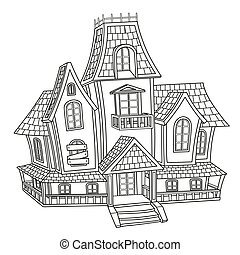 Witch house  outlined for coloring page