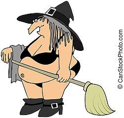 Witch in a black bikini