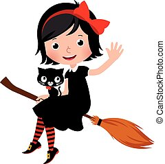 Witch in black dress flying on a broom with her cat.eps
