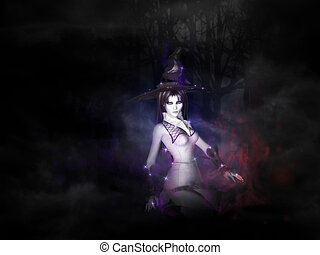 Witch in dark forest - Halloween background with witch...