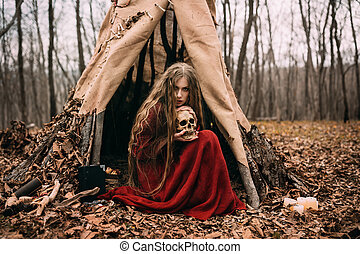 Witch in forest - Beautiful witch who lives in the woods