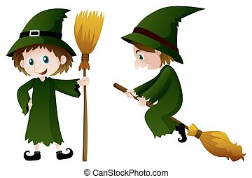Witch in green costume