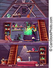 Witch in house with cellar, attic. Vector