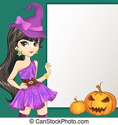 Witch In Purple Dress Hold Banner