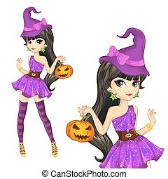 Witch In Purple Dress With Pumpkin