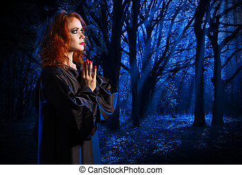 Witch in the night forest