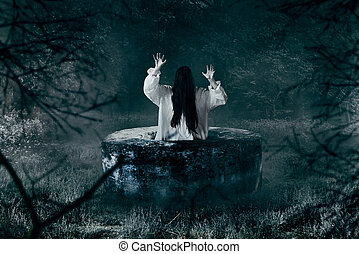 Witch in white shirt gets out of an abandoned well