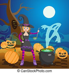 Witch in Wood Preparing Potion Vector Illustration. Cartoon Character. Cast Iron Pot with Boiling Brew. Halloween Night Party, October Holiday.
