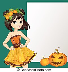 Witch In Yellow Dress With Pumpkin