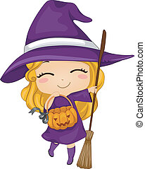 Witch Kid - Illustration of a Kid Dressed as a Witch