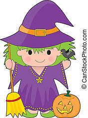 Witch Kid Isolated - A cute little witch with a broom and...