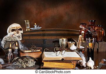 Witch kitchen - Halloween witch's kitchen, with skull,...