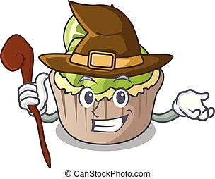 Witch lemon cupcake mascot cartoon