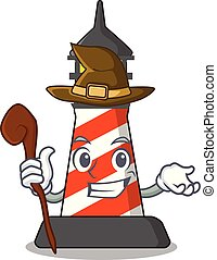 Witch lighthouse on the beach mascot