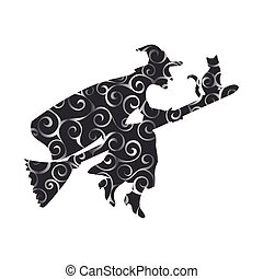 Witch magical pattern silhouette fantasy broom.