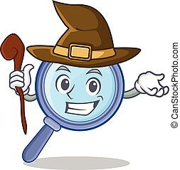 Witch magnifying glass character cartoon