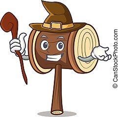 Witch mallet mascot cartoon style