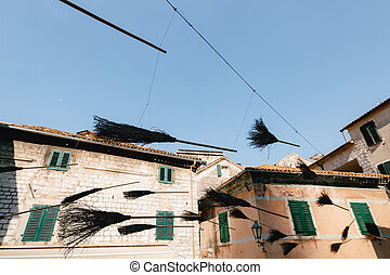 Witch mettles on the street of the old town of Kotor in Montenegro.